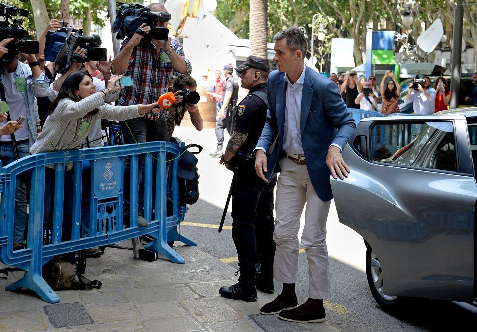 Inaki Urdangarin przybywa do sądu w Palma de Mallorca, 13 czerwca 2018 r.