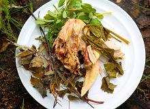 Kurczak pieczony w glinie pod malinowymi liśćmi - ugotuj