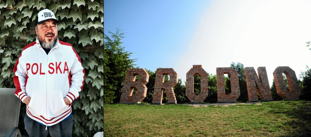 Zdjęcie zrobione podczas wizyty Pawła Althamera w pracowni Ai Weiweia w Pekinie, w maju 2014 r., obok: jedna z prac w Parku Rzeźby na Bródnie, autorstwa Jensa Haaninga.