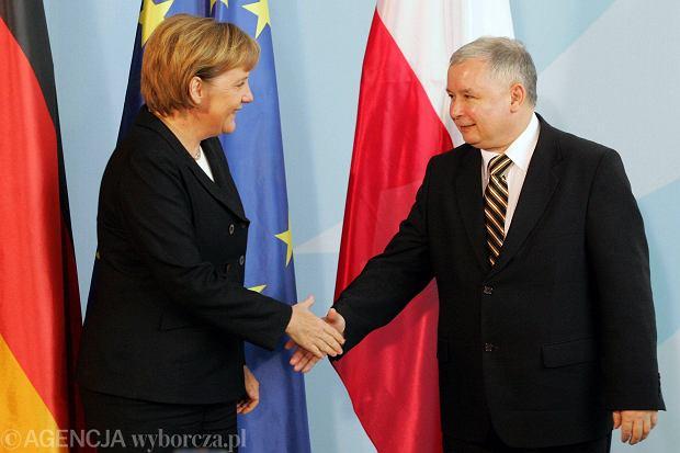 Angela Merkel na spotkani z premierem Jarosławem Kaczyńskim w Berlinie, 2006 r.