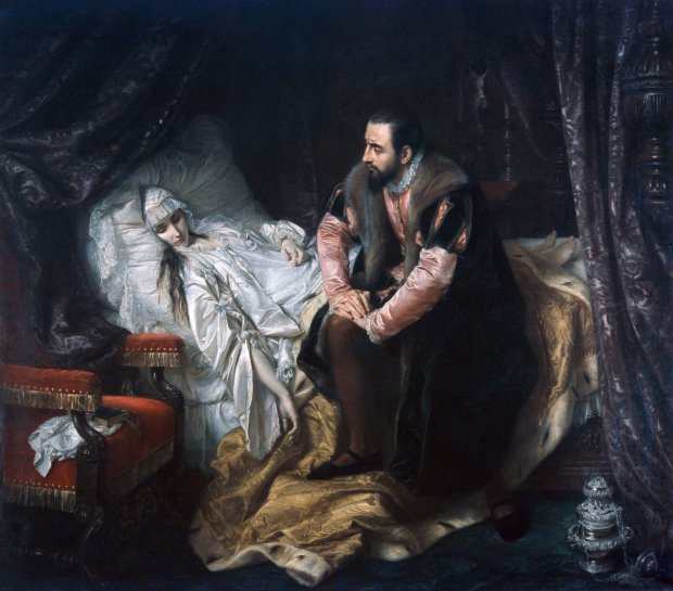 W 1860 r. obraz Józefa Simmlera zatytułowany ''Śmierć Barbary Radziwiłłówny'' wprawił Warszawę w zachwyt. Tak malarz wyobrażał sobie Zygmunta Augusta siedzącego przy boku zmarłej żony, którą poślubił wbrew ojcu, matce, senatorom i szlacheckiej opinii publicznej.