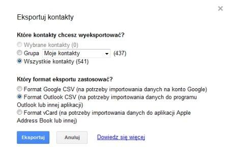 Kontakty w Gmailu