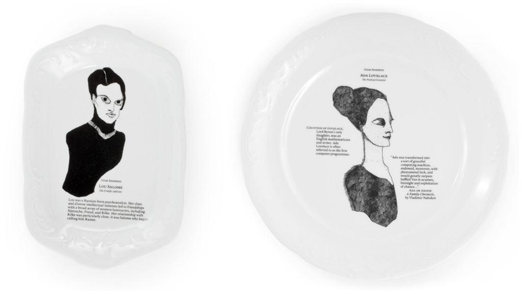 Tacka i talerz z kolekcji The Great Inventors autorstwa polskiej projektantki - Kai Kusztry (fot. materiały prasowe Kristoff Porcelana)