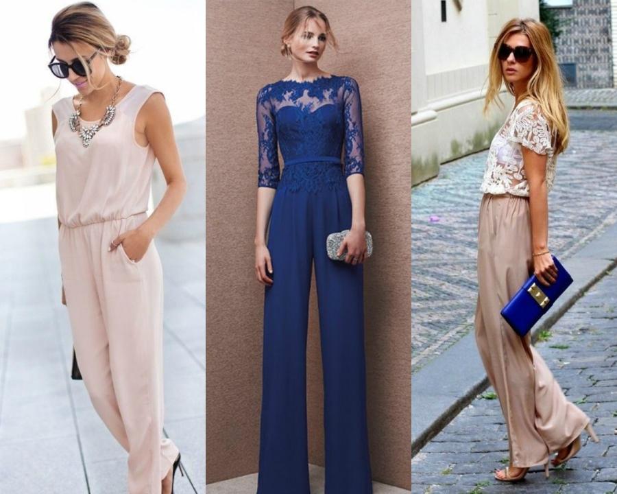 Jak się ubrać na wesele - kombinezon / fot. outfitshunter.com, berylcouture.co, stylishwife.com