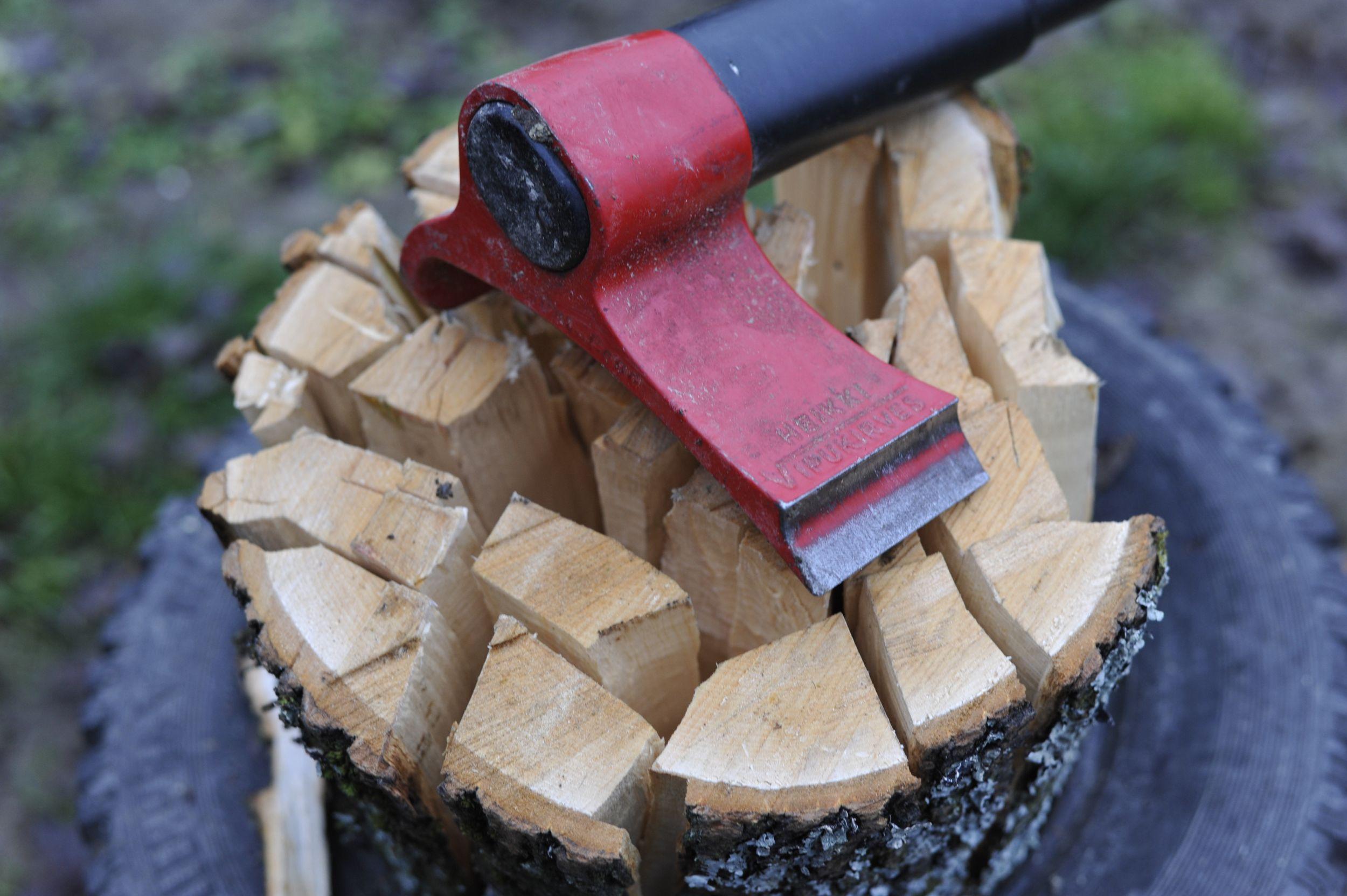 Precyzyjnie pocięte drzewo i opona, którą Lars wykorzystuje do przetrzymywania drzewa, żeby nie leżało na ziemi (fot. Lars Mytting)