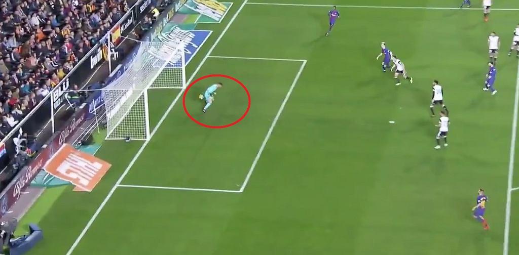 Błąd Neto i nieuznany gol dla Barcelony