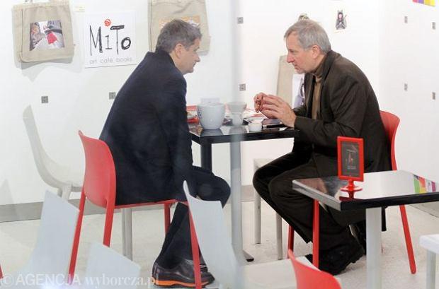Marek Siwiec podczas spotkania z Januszem Palikotem