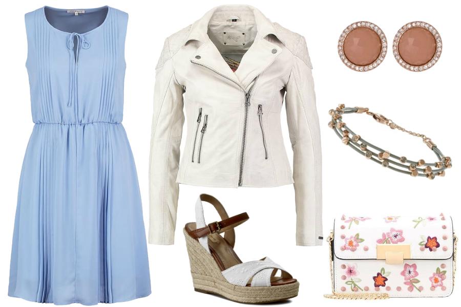 Biel i błękit - sukienka / mat. partnera