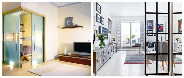 Z lewej: Rozsuwane drzwi pełnią jednocześnie funkcję ścianek wydzielających aneks sypialny w niewielkim pokoju dziennym. Pełne ścianki nadmiernie przytłoczyłyby wnętrze. Z prawej: Szklana ścianka z czarnymi szprosami symbolicznie odgradza przedpokój od pokoju dziennego. Stanowi naturalną granicę, zachęcając jednocześnie do przejścia dalej.