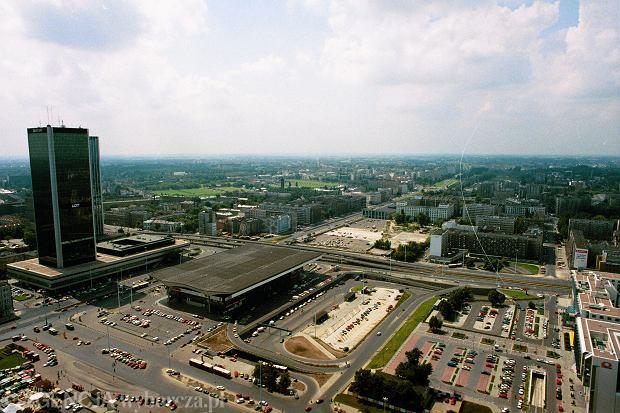Pałac Kultury i Nauki, panorama na hotel Marriot i Dworzec Centralny