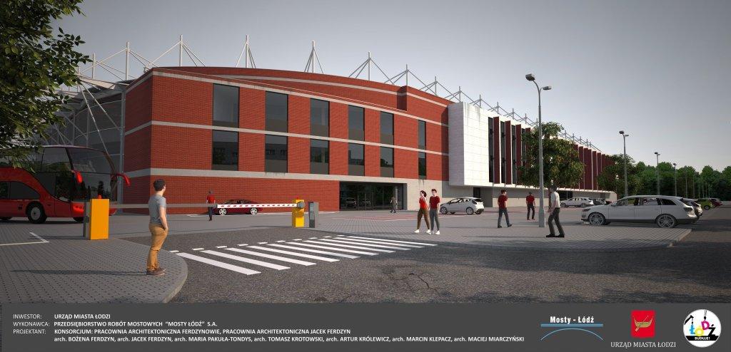 Wizualizacja nowego stadionu na Widzewie. Widok od strony północno-zachodniej