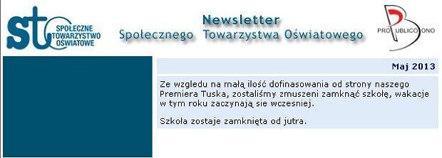 Tak wyglądał dzisiejszy newsletter STO