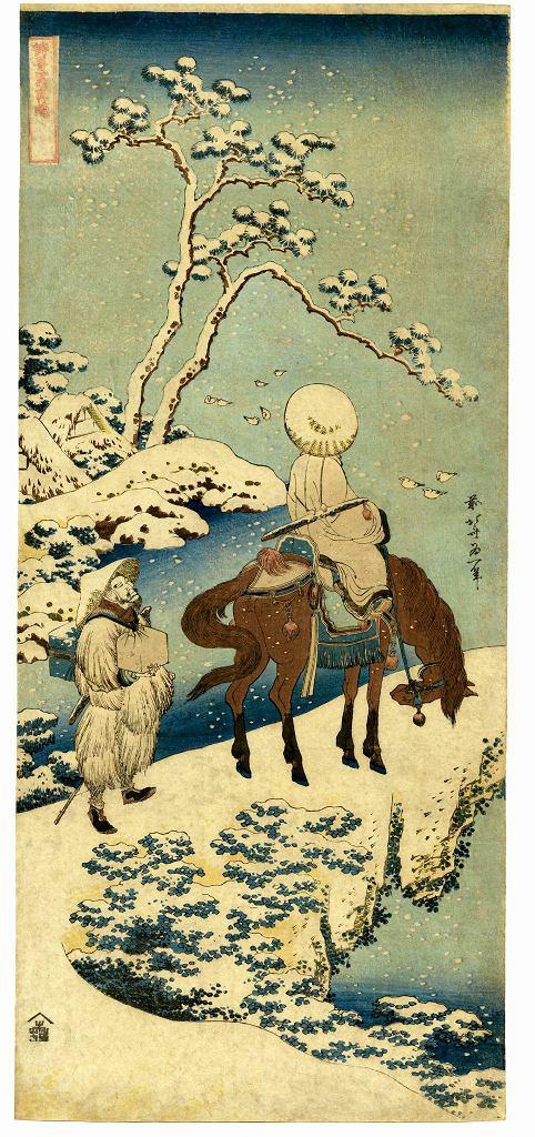 / Katsushika Hokusai. Chiński poeta Su Dongpo podziwiający krajobraz w śnieżnej szacie. Muzeum Narodowe w Warszawie