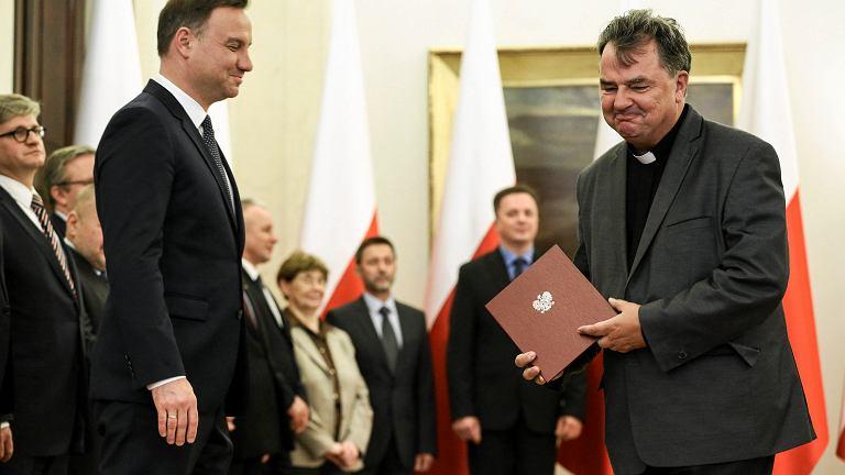 Ks. Paweł Bortkiewicz podczas uroczystości powołania prezydenckiej Narodowej Rady Rozwoju