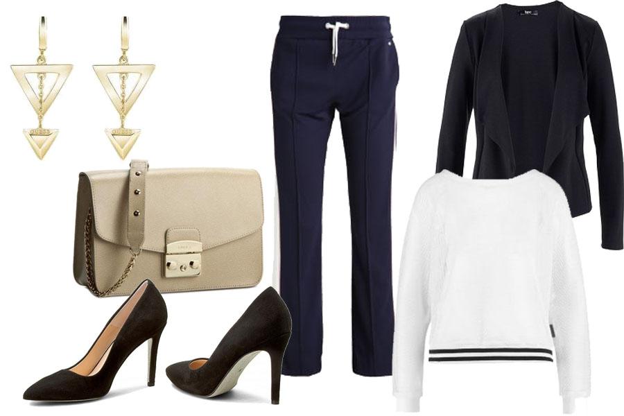 spodnie dresowe w połączeniu ze szpilkami / kolaż / materiały partnera