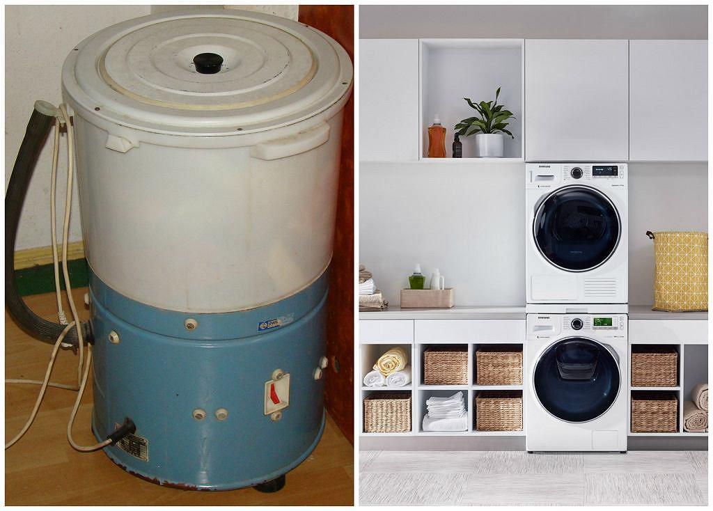 Po lewej popularna w czasach PRL-u pralka Frania marki Światowit S.A., po prawej nowoczesny model pralki i suszarki marki Samsung (fot. Darekm135 / Wikimedia.org / CC BY-SA 3.0 / materiały partnera)
