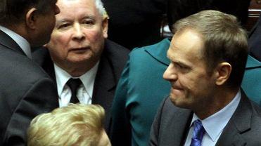 Tusk i Kaczyński w Sejmie w 2014 r.