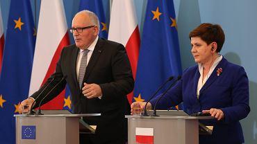 Konferencja prasowa premier Beaty Szydło i Fransa Timmermansa