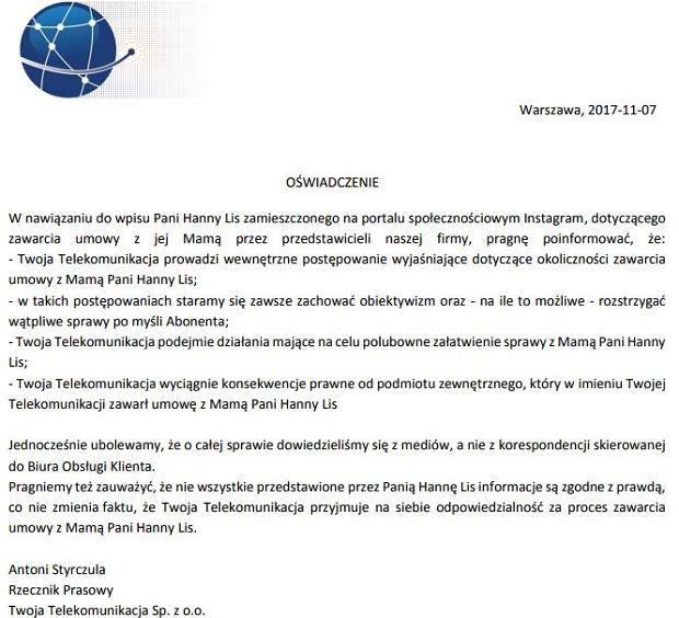 Oświadczenie spółki Twoja Telekomunikacja w związku z wpisem Hanny Lis