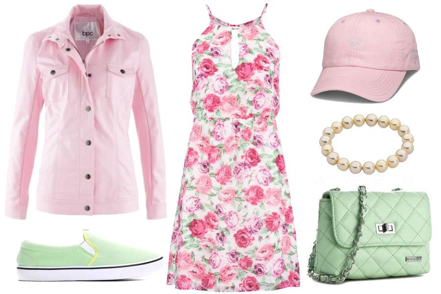 Kolaż Avanti24 / Stylizacja z letnią sukienką i różową czapką z daszkiem / Materiały partnera