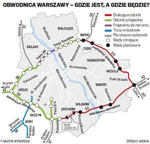 Mapa obwodnicy Warszawy