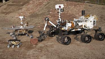 """Marsjańskie łaziki testowe i łazik zapasowy: (od lewej): Sojourner, """"bliźniak"""" łazików Spirit i Opportunity oraz największy Mars Science Laboratory, czyli bliźniak Curiosity"""