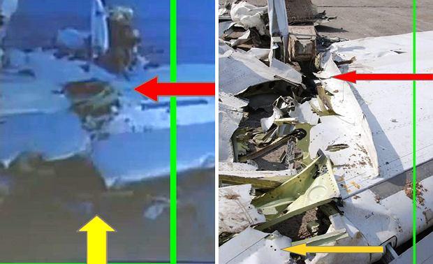 Zdjęcie z lewej: Slajdy z prezentacji W. Biniendy (stopklatki z nagrania Telewizji TRWAM). Zwraca uwagę prosta krawędź praktycznie nieuszkodzona w miejscu połączenia z częścią zewnętrzną (strzałka żółta) oraz nieuszkodzona powierzchnia końcowej części skrzydła w miejscu przecięcia - strzałka czerwona. Zdjęcie z prawej: DSC_0173, wykonane przez członków KBWLLP 19.04.2010 - strzałką żółtą pokazano poszarpany fragment slotu (przedniej krawędzi), strzałką czerwoną przecięcie tylnej części skrzydła