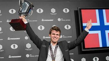 Magnus Carlsen po zdobyciu mistrzostwa świata.
