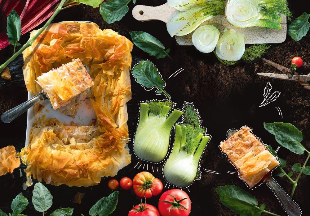 Placek z fenkułem, mangoldem i kozim serem