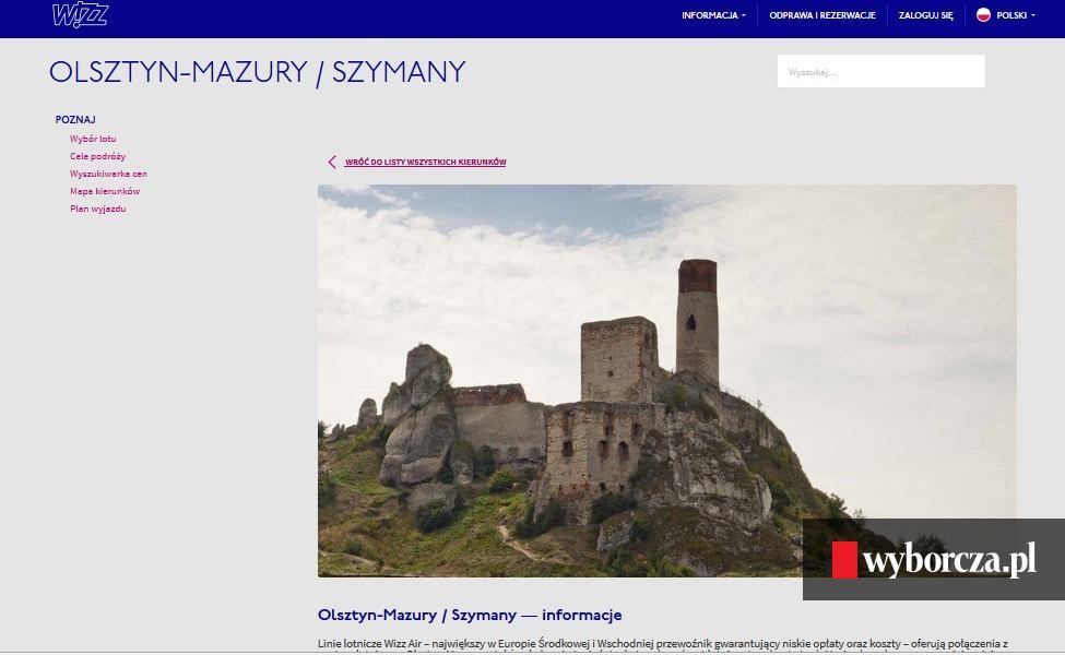 08a50ccfde Wizz Air pomylił Olsztyn na Warmii z tym pod Częstochową