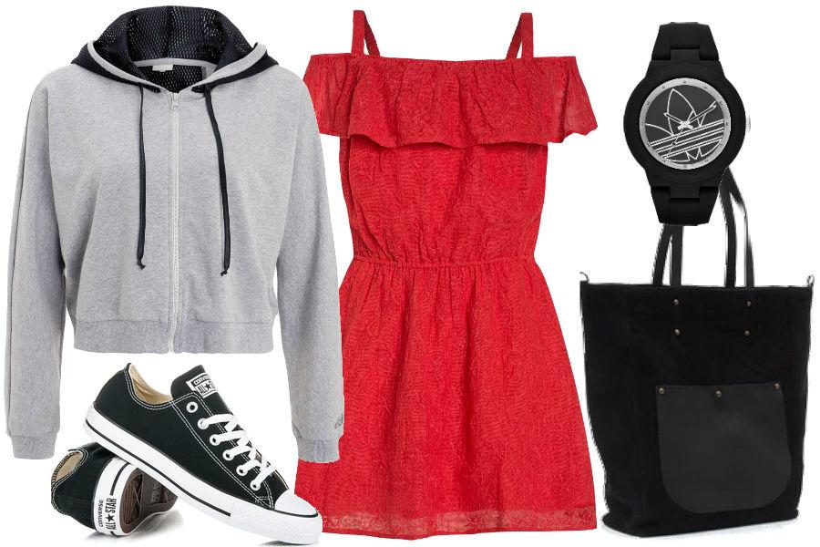 Kolaż Avanti24 / Stylizacja z letnią sukienką, trampkami i bluzą / Materiały partnera
