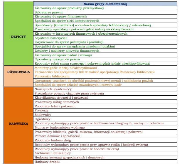Fragment raportu o zawodach najbardziej deficytowych i nadwyżkowych