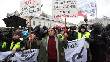 80. miesięcznica smoleńska na Krakowskim Przedmieściu w Warszawie (10.12.2016 r.)