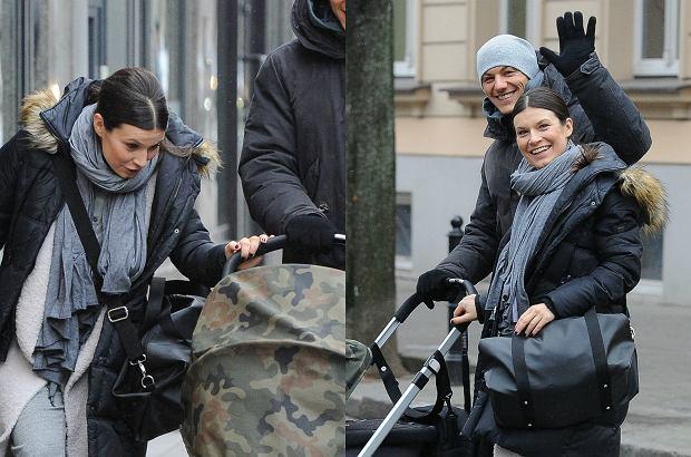 Zdjęcie numer 0 w galerii - Katarzyna Kępka z córką 2 miesiące po porodzie. Najpierw spacer, potem buziak dla malucha. Uroczy widok!