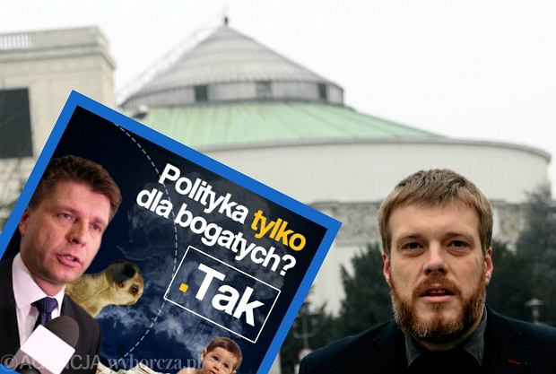 Adrian Zandberg pod Sejmem i pastiszowy mem