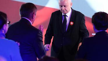 Jarosław Kaczyński podczas społecznych obchodów Święta Niepodległości w Krakowie.