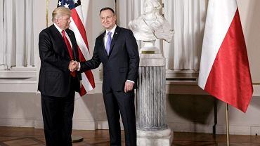 Prezydent  USA Donald Trump i prezydent RP Andrzej Duda podczas spotkania w Warszawie, 6 lipca 2017.