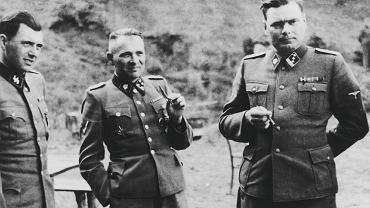 Komendant obozu w Auschwitz Rudolf Hoess, dr Józef Mengele i  Józef Kramer