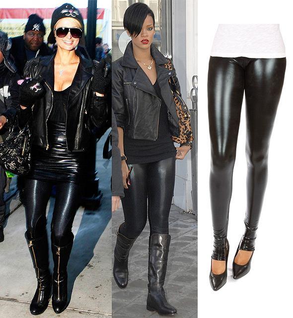 Paris Hilton i Rihanna w po�yskuj�cych legginsach (fot.AG)/www.ronherman.com