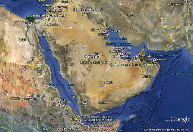Arabia Saudyska w Google Earth