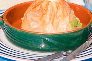 Owoce morza w sakiewce z ciasta Fillo