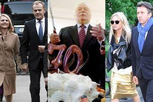 Lech Wa��sa, Monika Olejnik, Donald Tusk.