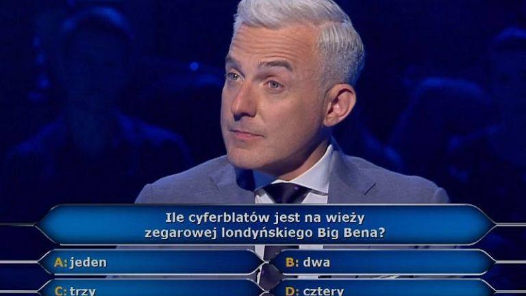 Milionerzy. Ile cyferblatów ma Big Ben?