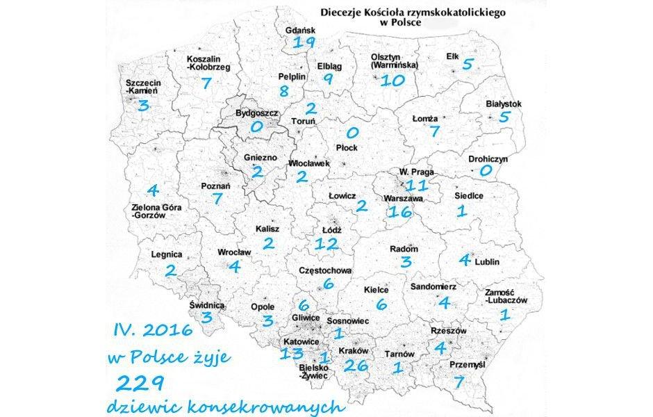 Stan Dziewic Konsekrowanych w Polsce (źródło: konsekrowane.org)