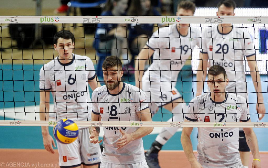 Antoine Brizard, Andrzej Wrona i Bartosz Kwolek podczas meczu Onico Warszawa - Skra Belchatow
