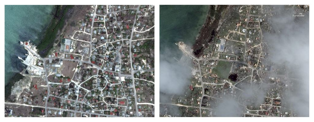 Barbuda przed i po huraganie Irma.