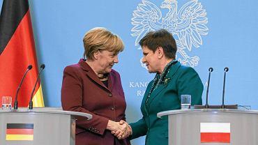 07.02.2017 Warszawa, KPRM. Kanclerz Niemiec Angela Merkel i premier rządu PiS Beata Szydło
