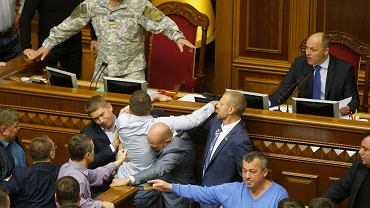 Burzliwe obrady ukraińskiego parlamentu Deputowani spierają sie o ustawę dot. specjalnego statusu Donbasu, Kijów 6 października 2017