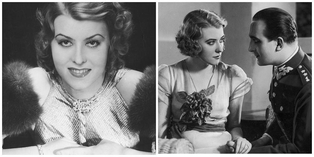 Po lewej Nakoneczna w filmie ''Dziewczyny'', po prawej z Tadeuszem Wesołowskim w przedstawieniu 'Uśmiech hrabiny', 1933 r. (fot. Narodowe Archiwum Cyfrowe)
