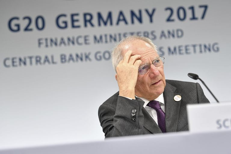 Niemiecki minister finansów Wolfgang Schaeuble podczas obraz G20